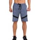 Summer Mens Basic Simple Grey Drawstring Waist Beach Swim Shorts