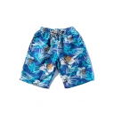Summer Chic Blue Tropical Floral Printed Drawstring Waist Casual Board Shorts Swim Trunks