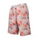 Guys Summer Pink Tropical Leaf Print Drawcord Waist Loose Casual Sport Swim Shorts with Liner