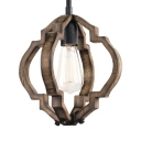 Dining Room Balcony Pendant Light Wood Shade Single Light Antique Style Hanging Light