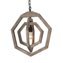 Vintage Style Ceiling Light with Wood Shade 1 Light 3 Color Choice Pendant Light for Restaurant Hallway