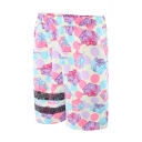 Guys Hot Fashion Pink Gift Box Printed Drawstring Waist Casual Swimwear Board Shorts with Mesh Liner
