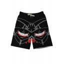 Men's Unique Black Tokyo Ghouls Print Swim Trunks With Drawcord