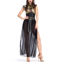 Halloween Cosplay Costume Egyptian Goddess Sleeveless Sexy Slit Side Maxi Black Mesh Dress