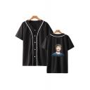 Popular Figure Printed V-Neck Short Sleeve Button Down Baseball Shirt