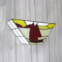 Boat Shape Wall Light 1 Light Tiffany Style Rustic Abstract Pattern Sconce Lamp with Multi Color for Kitchen