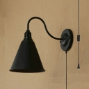 Metal Cone Shape Sconce Light Dinging Room Hotel 1 Light Vintage Style Wall Lamp with Plug In Cord in Black
