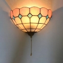 Tiffany Style Sconce Light Stained Glass Hand Made Flower Shape Sconce Lamp for Kitchen Hallway