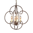 Metal Shade Candle Ceiling Light Living Room Restaurant 4 Lights Antique Style Chandelier in Rust