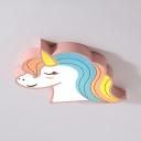 Child Bedroom Flush Mount Light White Lighting/Stepless Dimming Unicorn Shape Ceiling Light in Pink/Blue