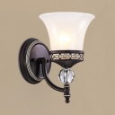 Glass Metal Wall Lamp Kitchen Hallway Single Light Vintage Style Bell Shade Wall Light