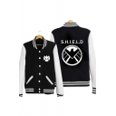 Fashion Letter Logo Print Colorblock Rib Stand Collar Long Sleeve Button Varsity Baseball Jacket