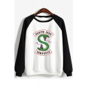 South Side Classic Snake Logo Print Colorblock Long Sleeve Pullover Sweatshirt