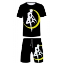 New Stylish Sailor Moon Comic Girl Print Round Neck T-Shirt Casual Relaxed Beach Shorts Black Two-Piece Set