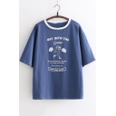 Summer Cartoon Figure Letter Printed Round Neck Short Sleeve Casual Tee