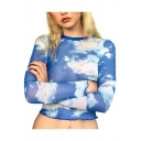 Fashion Blue Sky Cloud Printed Womens Round Neck Long Sleeve Slim Fit Cropped Mesh T-Shirt