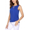 Unique Cutout Round Neck Sleeveless Solid Color Chiffon T-Shirt Top