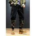 Mens New Fashion Camouflage Printed Drawstring Waist Loose Cotton Track Pants