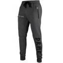 Men's New Stylish Gray Letter Zip Pocket Drawstring Waist Cotton Casual Sport Joggers SweatPants