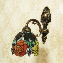 Colorful Flower Pattern Sconce Light Tiffany Style Vintage Stained Glass Hand Made Wall Light for Restaurant