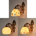 3 Color Choice Wall Light Glass 1 Light Tiffany Style Wall Sconce with Bowl Shape