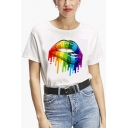 Summer Cool Colorful Oil Painting Lip Printed Basic White T-Shirt