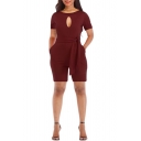 New Stylish Solid Color Round Neck Short Sleeve Sexy Cut Out Front Tied Waist Slim Romper for Women