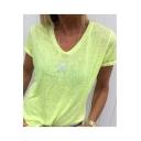 Women's Stylish Stars Printed V Neck Short Sleeve Casual T-Shirt