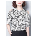 Trendy Leopard Print Cold Shoulder Black and White Chiffon Tee