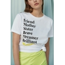 Simple FRIEND MONTHER SISTER Letter White Round Neck Short Sleeve Tee