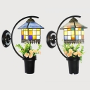 Rustic Style House Shape Wall Lamp Glass and Metal Colorful Sconce Light with Flower Decoration for Balcony
