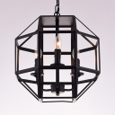 Candle/Cylinder Shape Chandelier with Cage 3 Lights Industrial Metal Suspension Light in Black for Dining Room