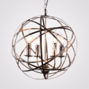 4 Lights Candle Chandelier with Globe Cage Vintage Style Metal Pendant Lamp for Kitchen Dining Room