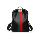 Simple Classic Color Block Striped Rivet Embellishment Black PU Backpack 26*12*28 CM