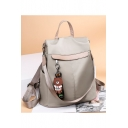 Simple Solid Color Bear Pendant Oxford Cloth Backpack 32*14*32 CM
