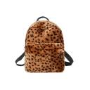 Stylish Leopard Pattern Adjustable Strap Zipper Backpack 28*12*31 CM