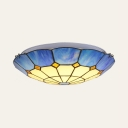 Tiffany Style Flush Mount Light Dome 4 Lights Glass Light Fixture in White and Blue