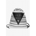 Unique Letter Geometric Stripe Printed Black and White Canvas Drawstring Backpack 30*39 CM