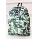 Popular Logo Leaves Printed Unisex Green School Bag Backpack 32*12*40 CM