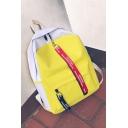Trendy Color Block Letter Ribbon Canvas School Bag Backpack 30*12*40 CM