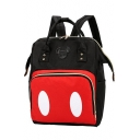 Lovely Color Block Mickey Mouse Patched Satchel Backpack 26*16*39 CM