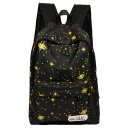 Trendy Polka Dot Galaxy Printed Backpack School Casual Bag with Zippers 29*13*41 CM