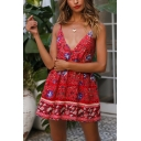 Summer Fashion Red Floral Printed V-Neck Mini A-Line Slip Dress