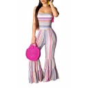 Hot Fashion Colorful Striped Printed Spaghetti Straps Wide Leg Flared Jumpsuits For Women