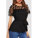 Womens Plus Size Round Neck Short Sleeve Floral Mesh Patched Tied Waist Black T-Shirt