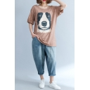 Women's New Trendy Short Sleeve Round Sleeve Dog Print Backless Plus Size T-Shirt
