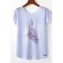 Trendy Castle Floral Printed Round Neck Short Sleeve loose Purple Tee For Girls