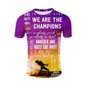 Cool Letter WE ARE THE CHAMPIONS Graffiti Printed Round Neck Short Sleeve Purple T-Shirt