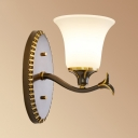 White Bell Shade Wall Light 1/2 Light Vintage Style Frosted Glass Sconce Light for Dining Room