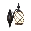 1 Light Barrel Shade Sconce Light American Rustic Metal Sconce Lamp in Black for Hallway Bedroom
